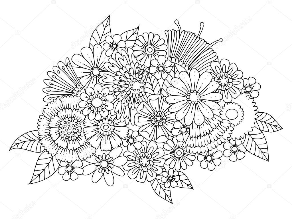 bloemen ornament kleurboek voor volwassenen vector