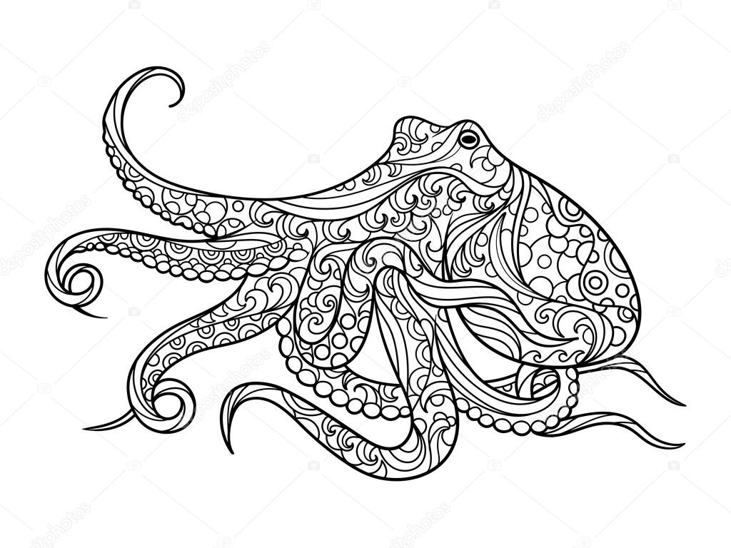 Octopus coloring book for adults vector — Stock Vector ...