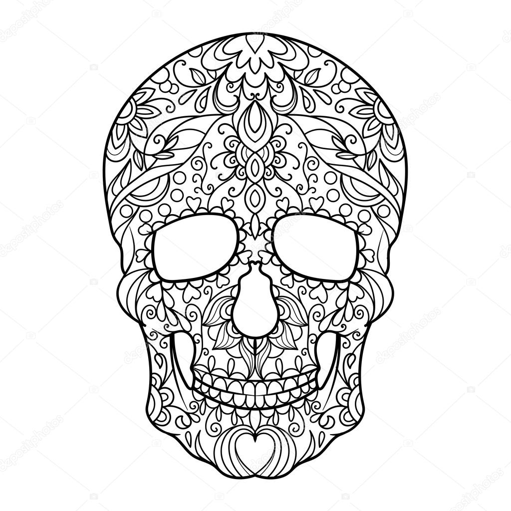 Boyama Kitabı Için Yetişkin Vektör Kafatası Stok Vektör