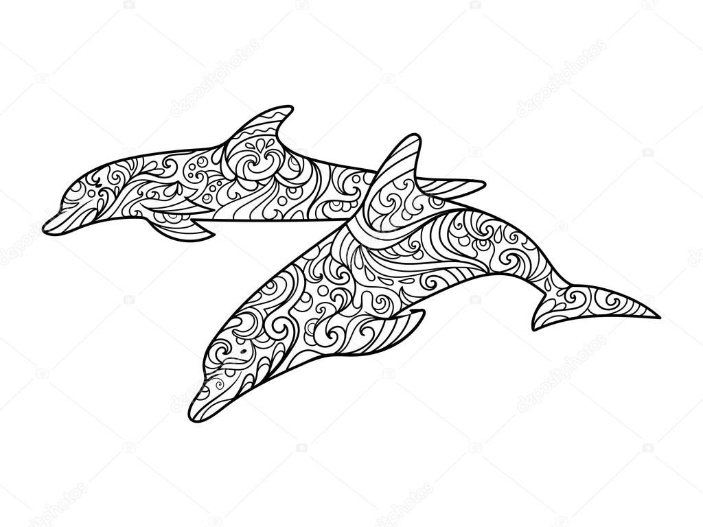 Dolphin coloring book for adults vector — Stock Vector ...