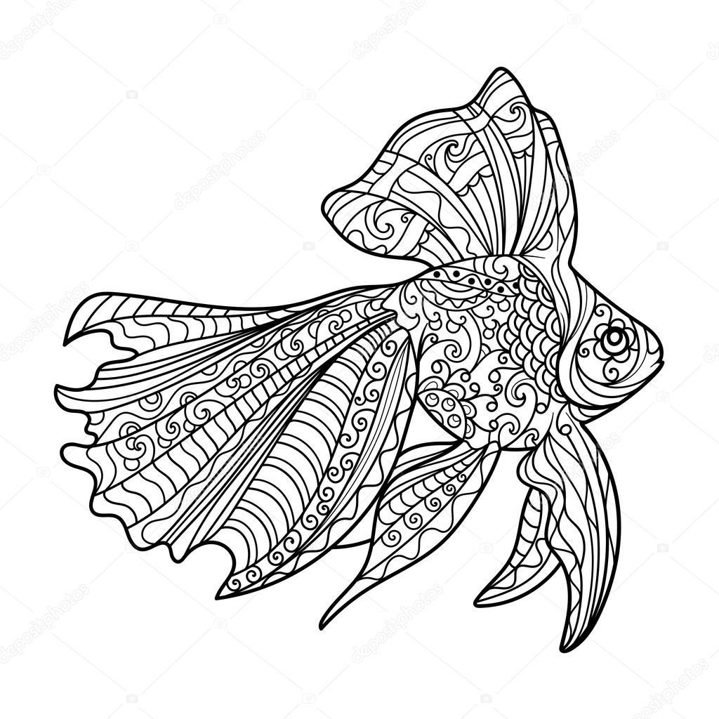 Altın Balık Boyama Kitabı Yetişkin Vektör Için Stok Vektör