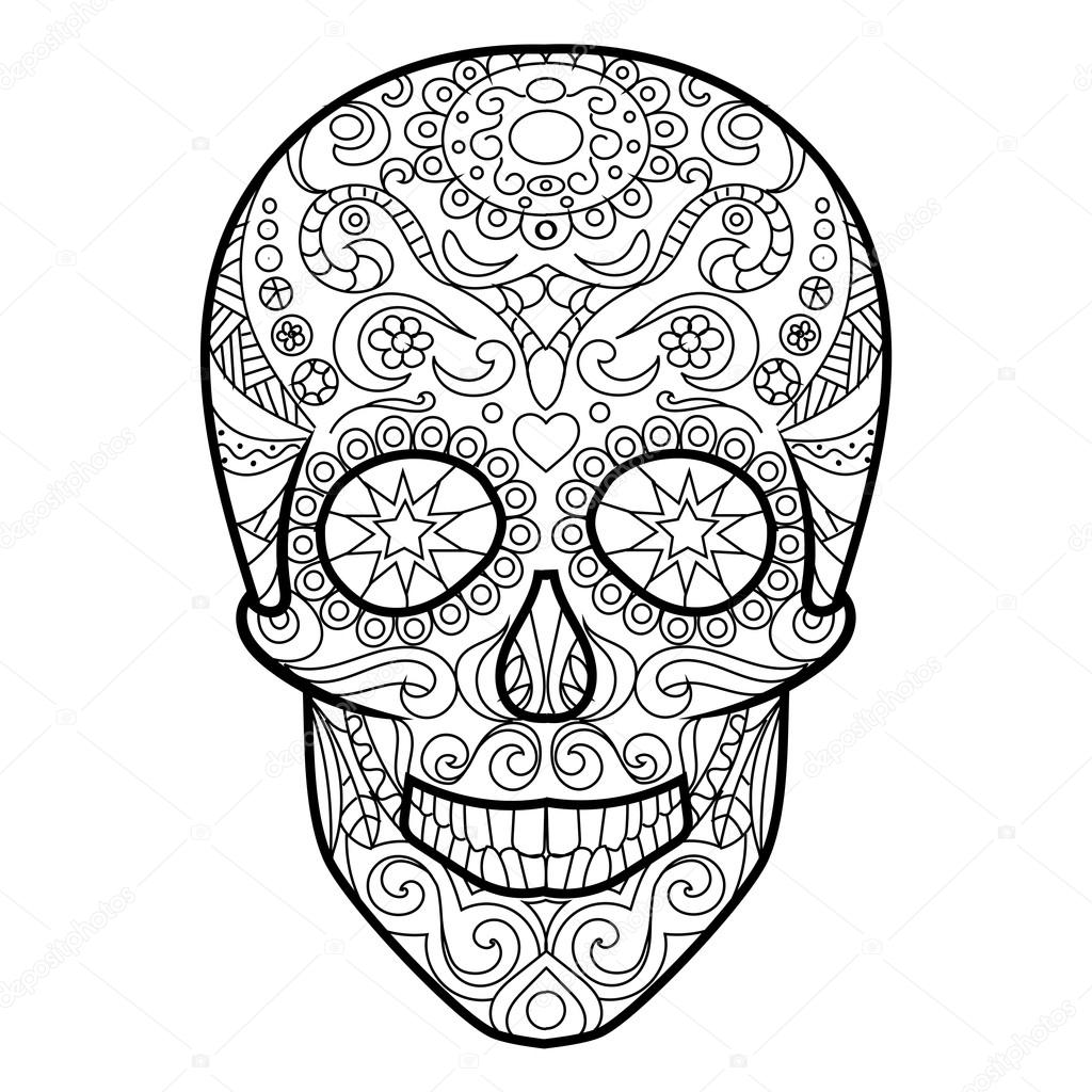 skull coloring book for adults vector stock vector 104207052