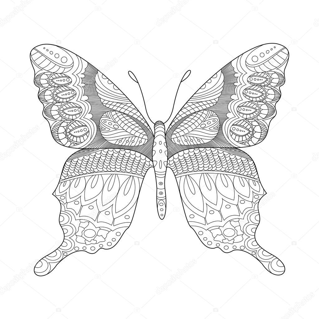 Kleurplaten Vlinders Voor Volwassenen.Vlinder Kleurplaat Boek Voor Volwassenen Vector Stockvector