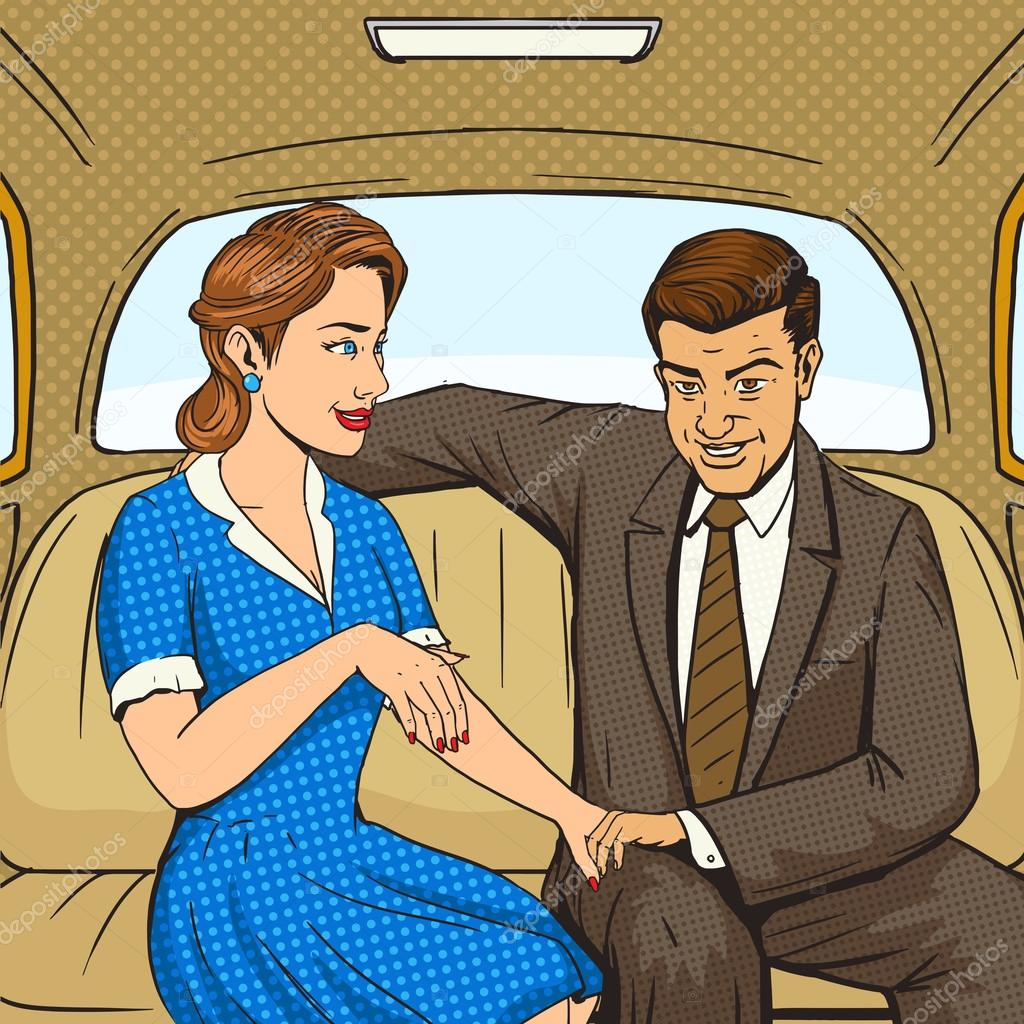 couple talking in taxi pop art style vector stock vector
