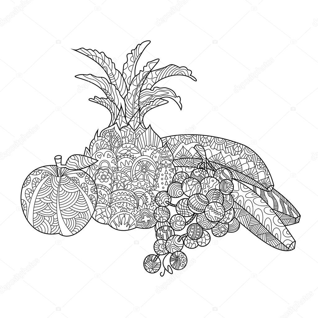 Kleurplaten Van Fruit.Fruit Kleurplaat Boek Voor Volwassenen Vector Stockvector