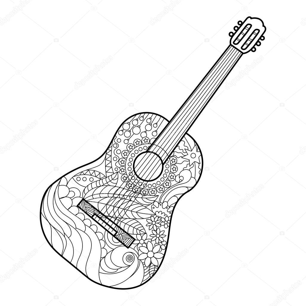 Akustik Gitar Boyama Kitabı Yetişkin Vektör Için Stok Vektör