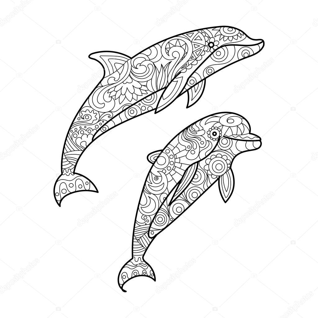 Dolfijn Schattige Dieren Kleurplaten Moeilijk Coloring And Drawing