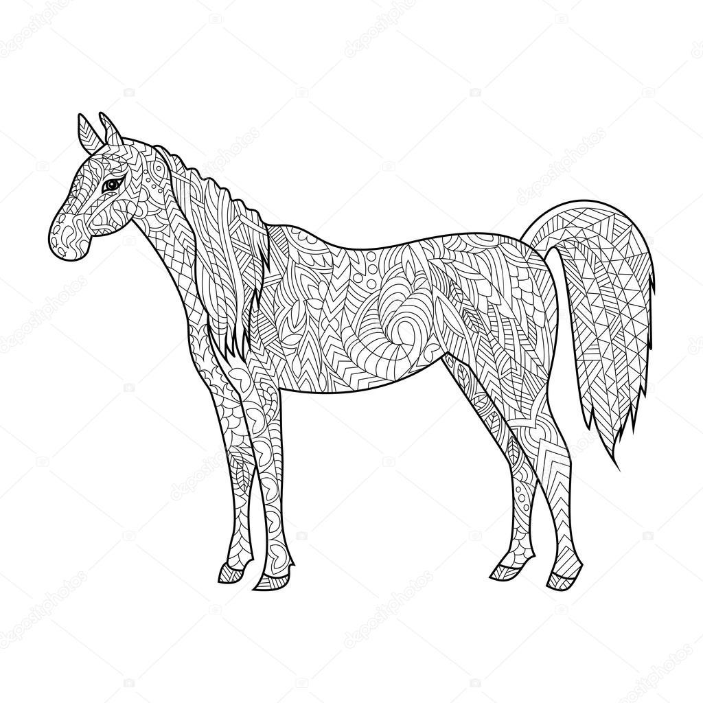 Libro para colorear de caballo de vectores adultos — Vector de stock ...