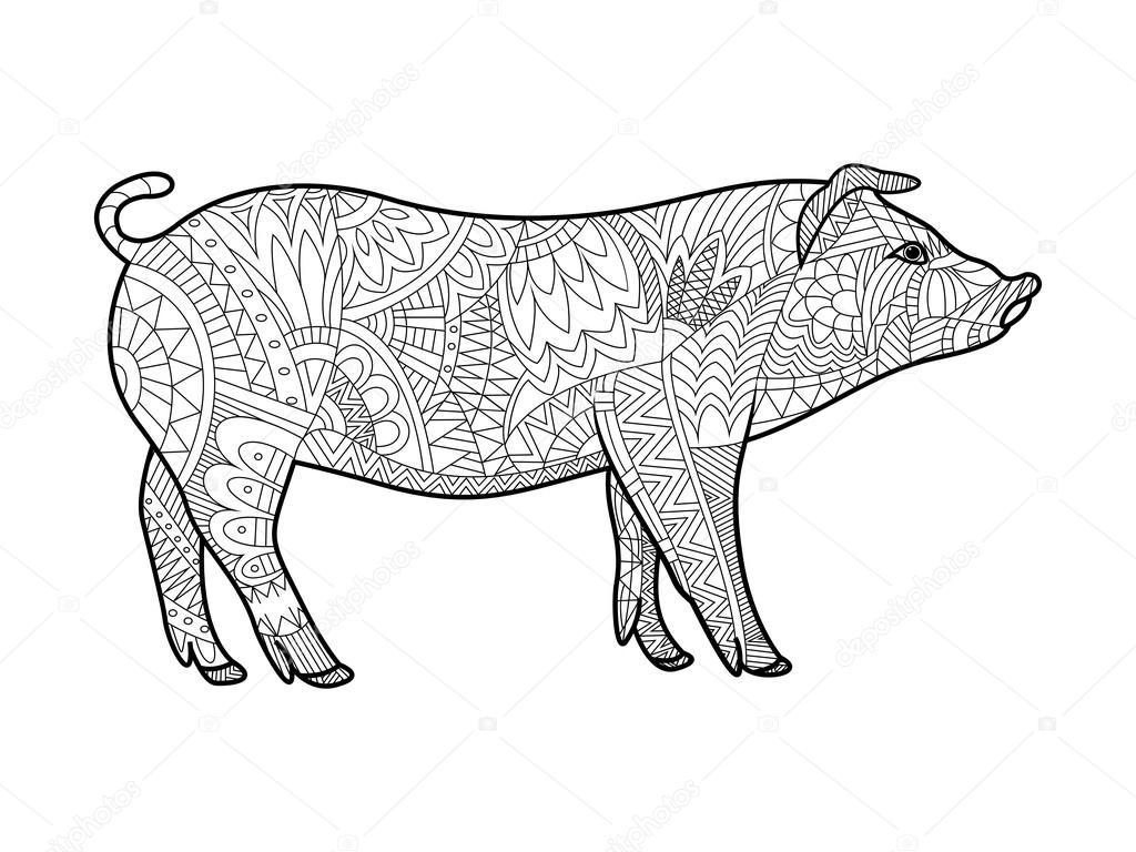 Coloriage Adulte Ferme.Livre De Coloriage Cochon Pour Vecteur Adultes Image Vectorielle