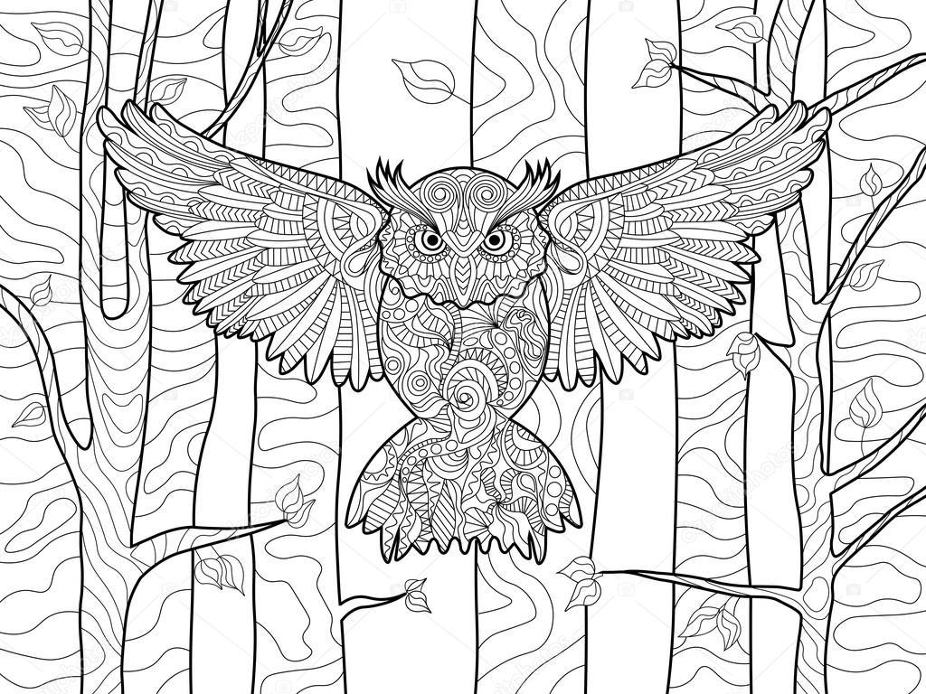 uil in het boek voor volwassenen vector kleuren forest