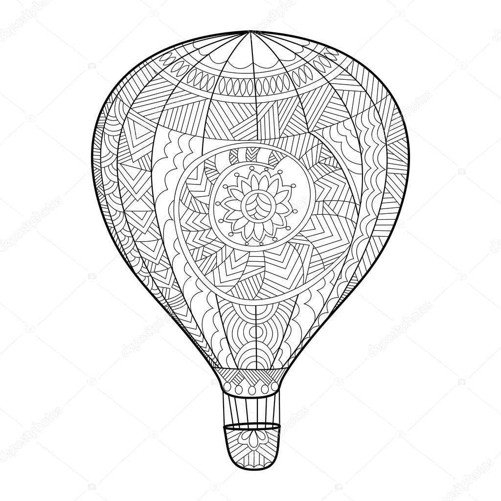 Aeronautic balloon coloring book for adults vector — Stock Vector ...