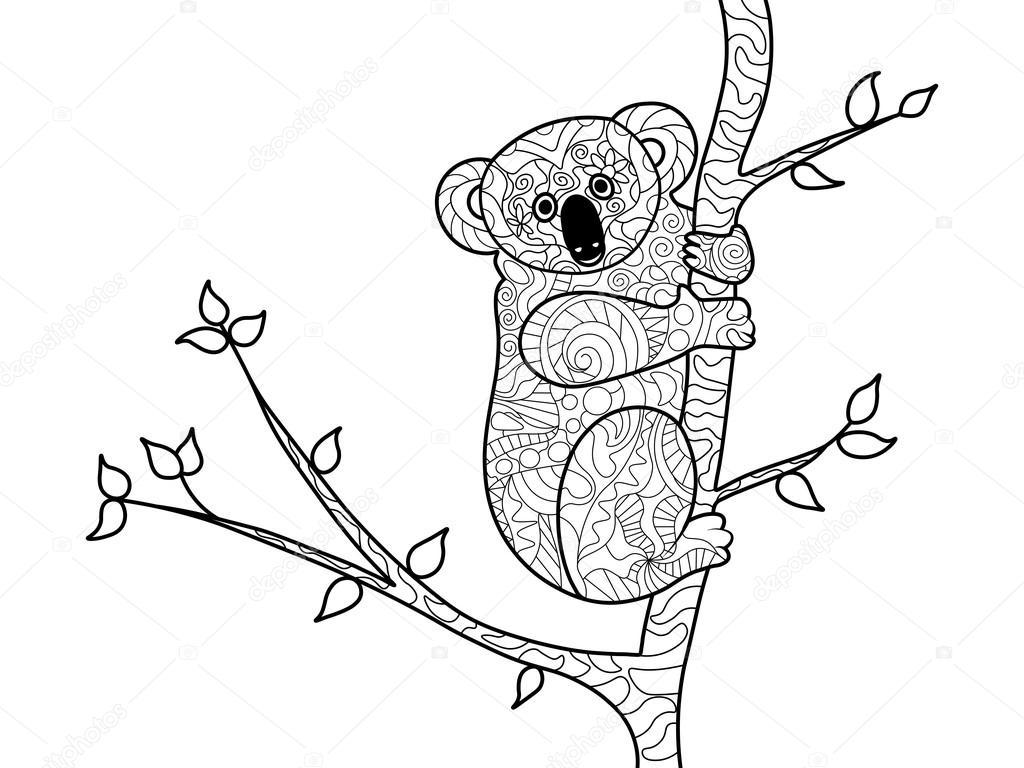 Koala Bear Coloring Boek Voor Volwassenen Vector Stockvector