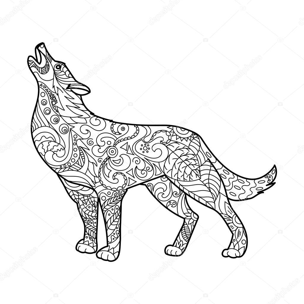 Malbuch Für Erwachsene Vektor Wolf Stockvektor Alexanderpokusay
