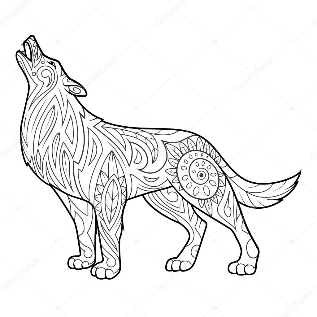 wolf coloring book for adults vector stock vector 107266028 - Wolf Coloring Book
