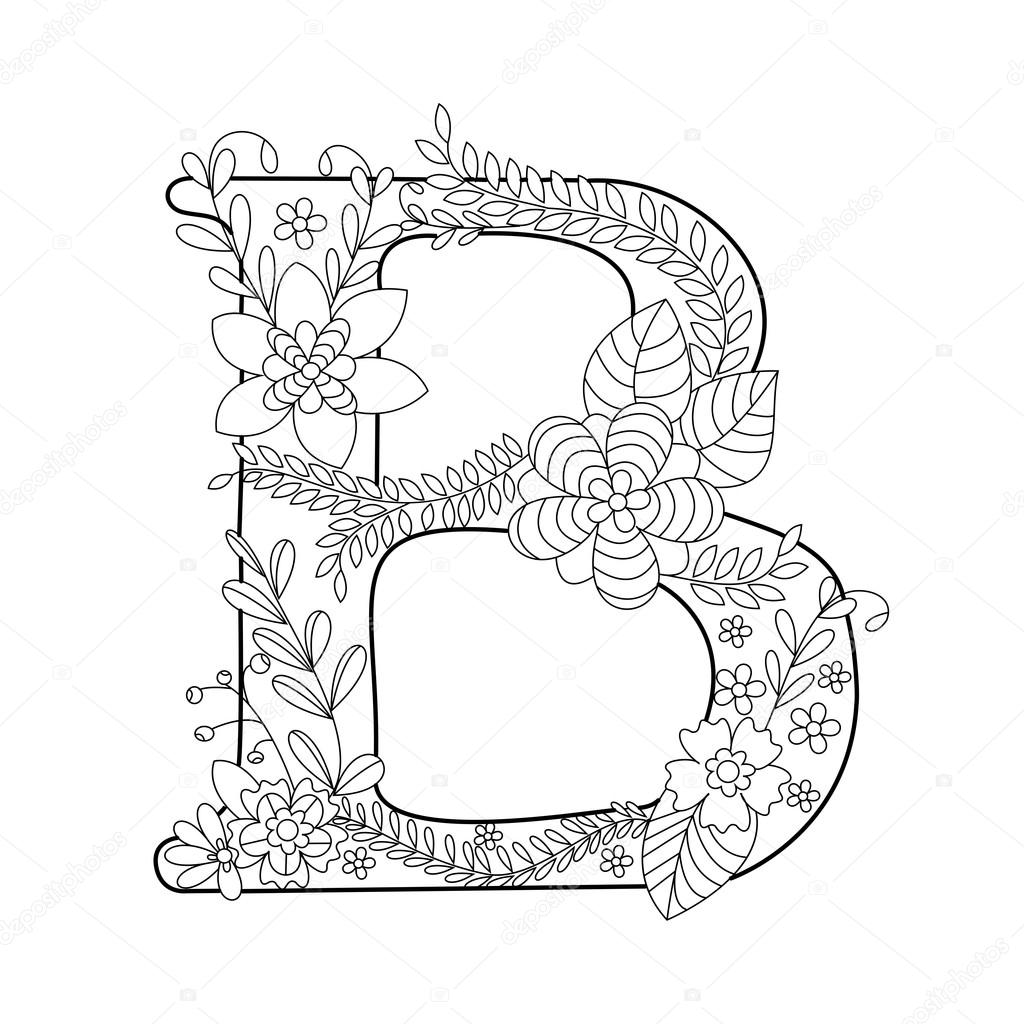 Kleurplaten Volwassenen Letters.Letter B Kleurboek Voor Volwassenen Vector Stockvector