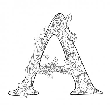 Letter A coloring book for adults vector