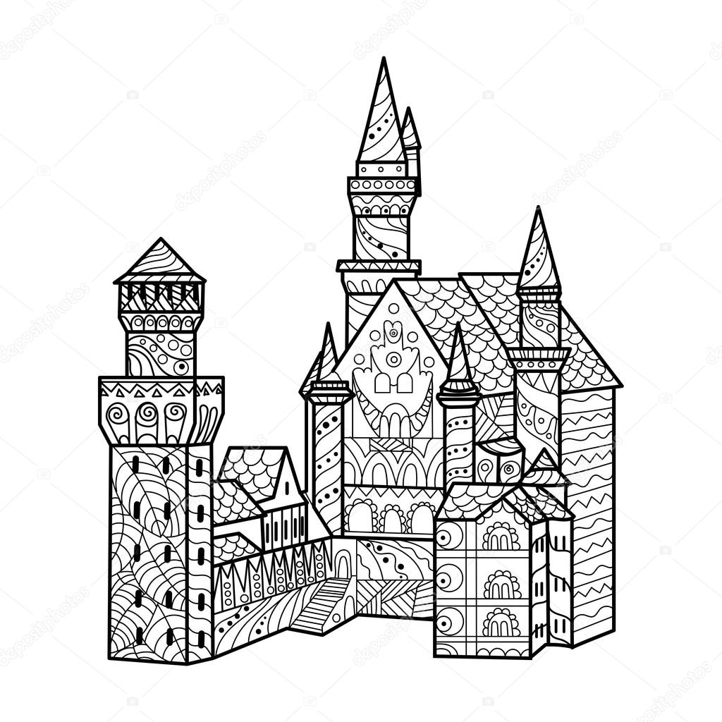 Medieval castle coloring book for adults vector — Stock Vector ...