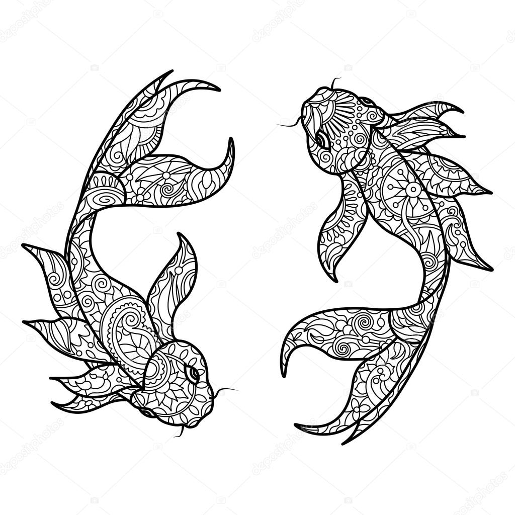 Koi Carp Fish Coloring Book For Adults Vector Stock 107523192