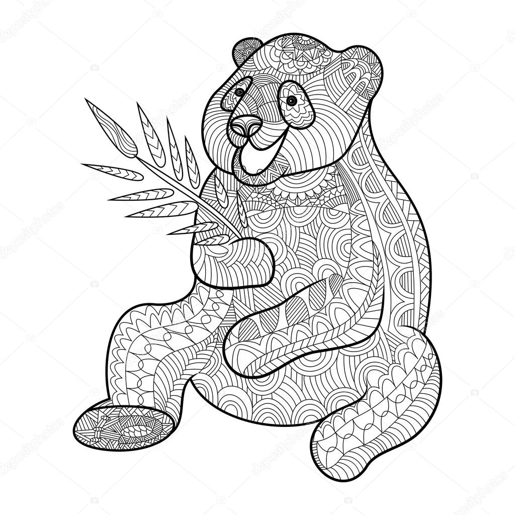 panda kolorowanka dla dorosłych wektor grafika wektorowa