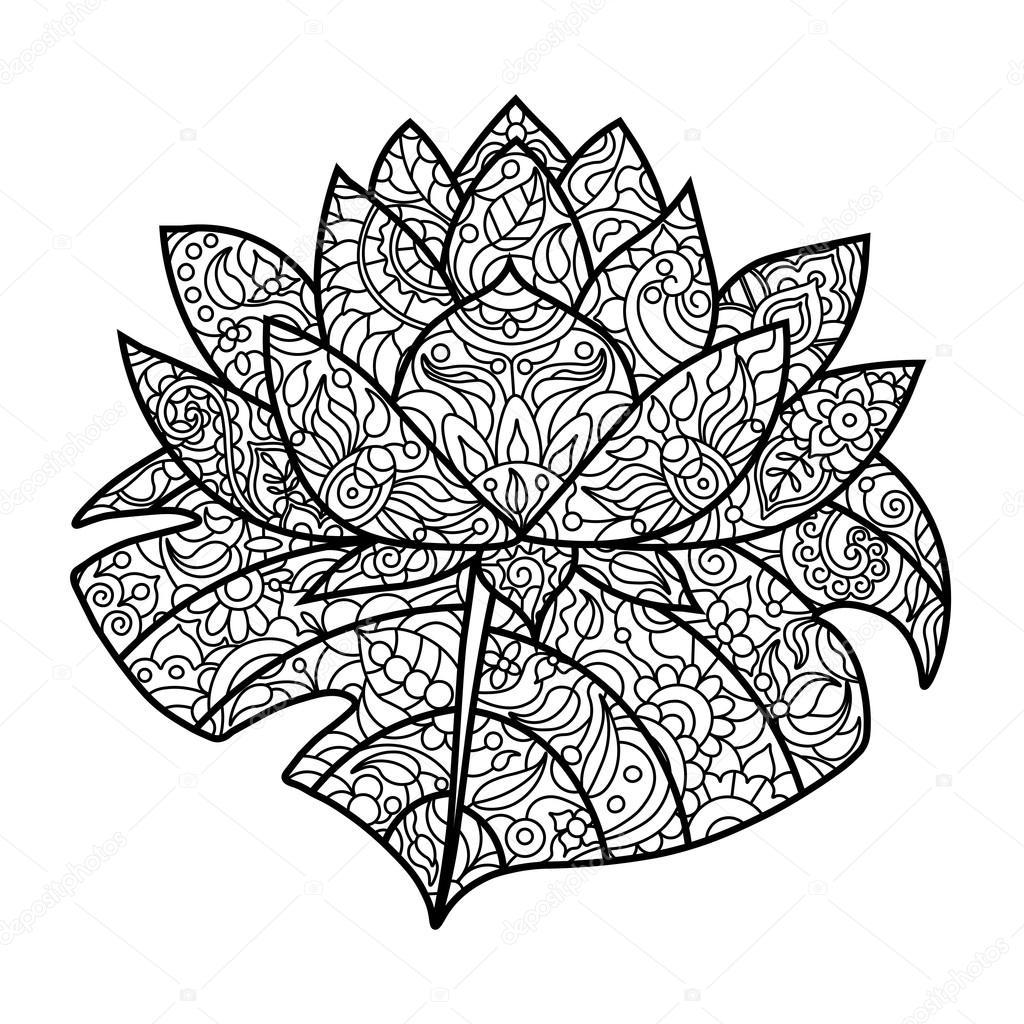 Flor de loto para colorear libro de vectores adultos — Archivo ...
