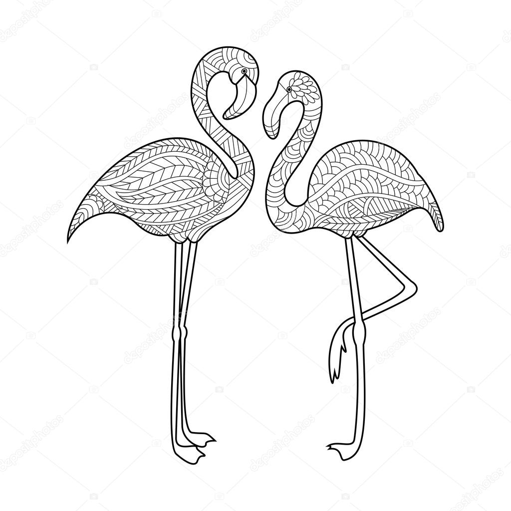 flamingo coloring book for adults vector stock vector