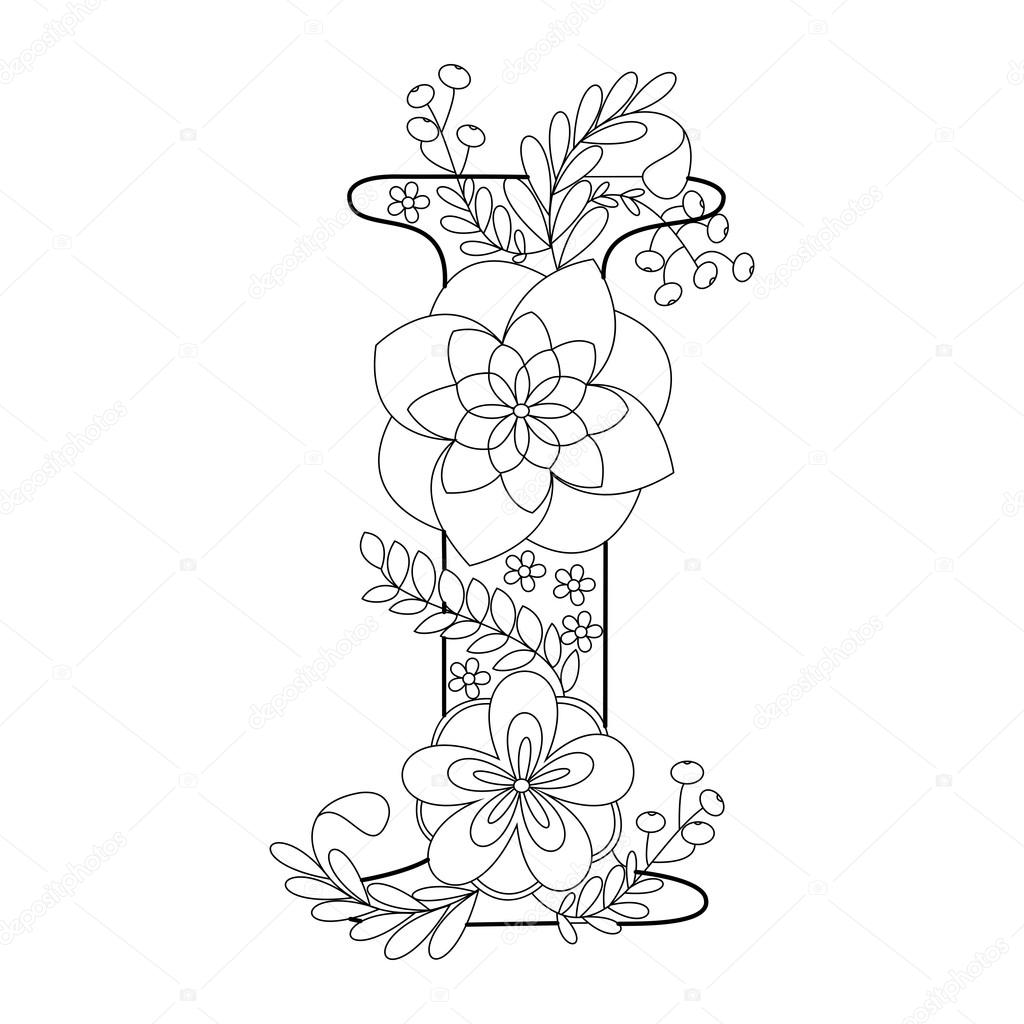 Letter I Coloring Book For Adults Vector Stock Vector