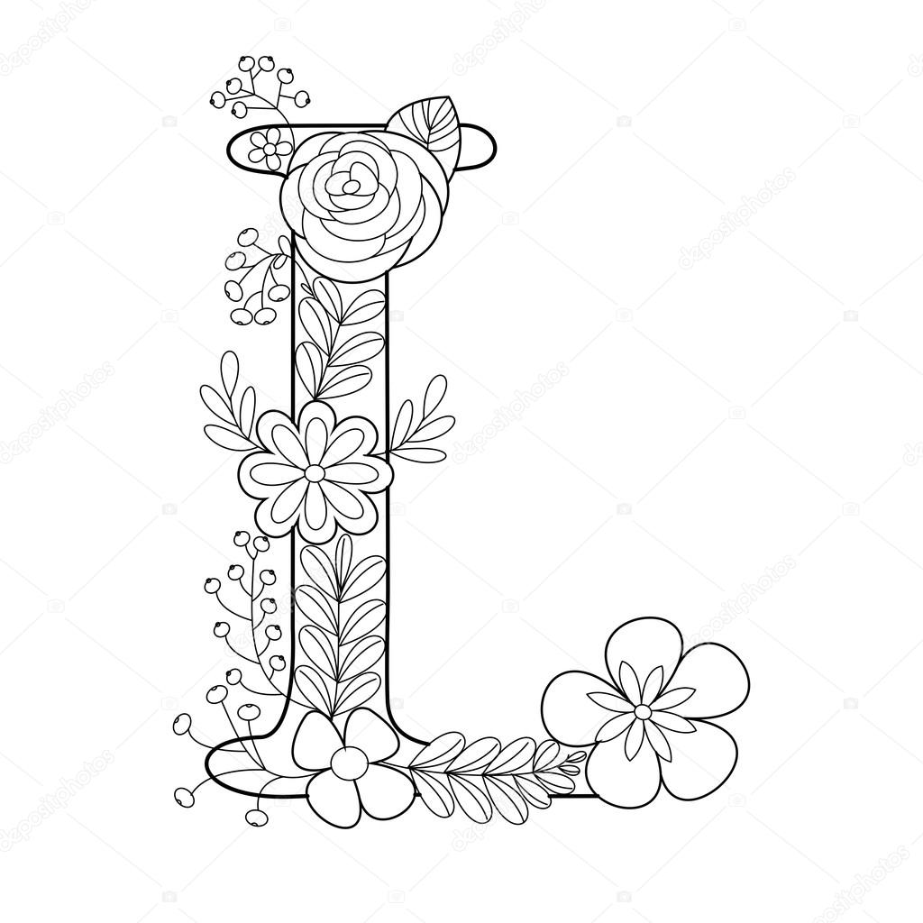 Letter L Coloring Book For Adults Vector Stock Vector