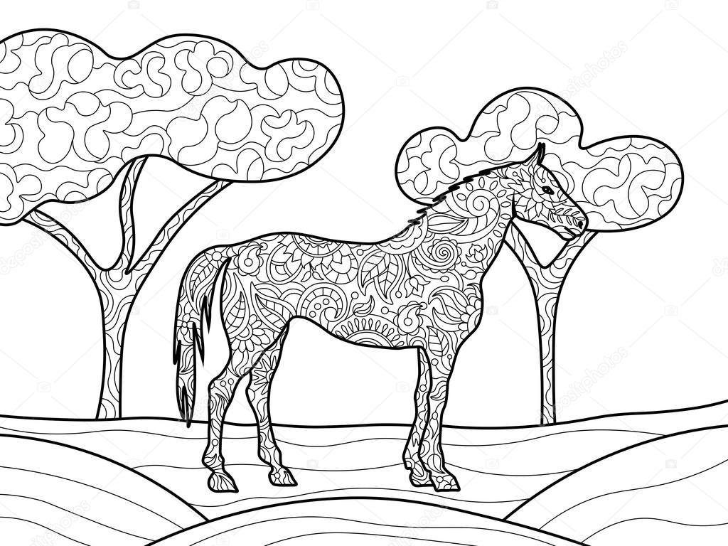 Coloriage Cheval Pour Adulte.Livre De Coloriage De Cheval Pour Vecteur Adultes Image