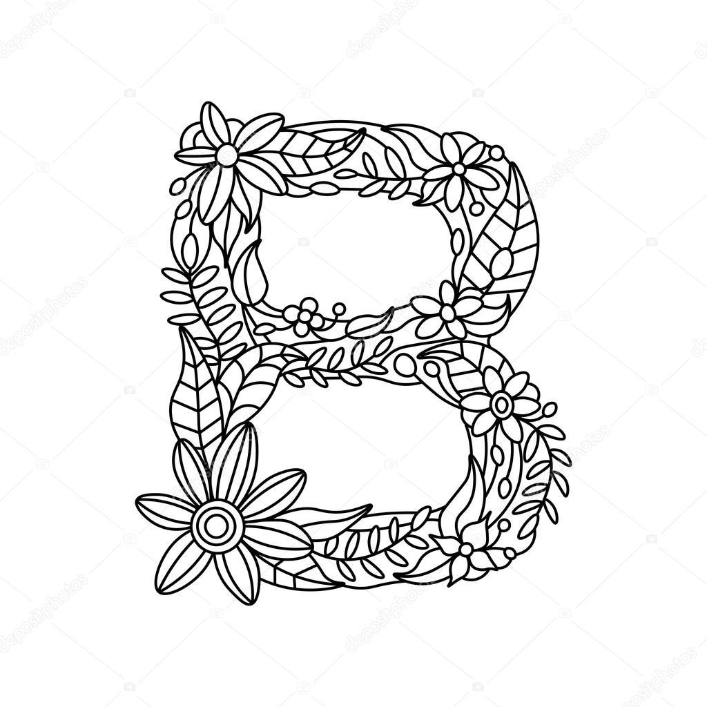 letter b kleurboek voor volwassenen vector stockvector