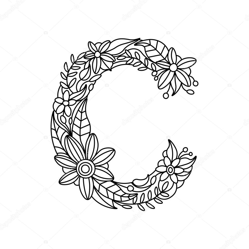 Letter C Coloring Book For Adults Vector Stock Vector
