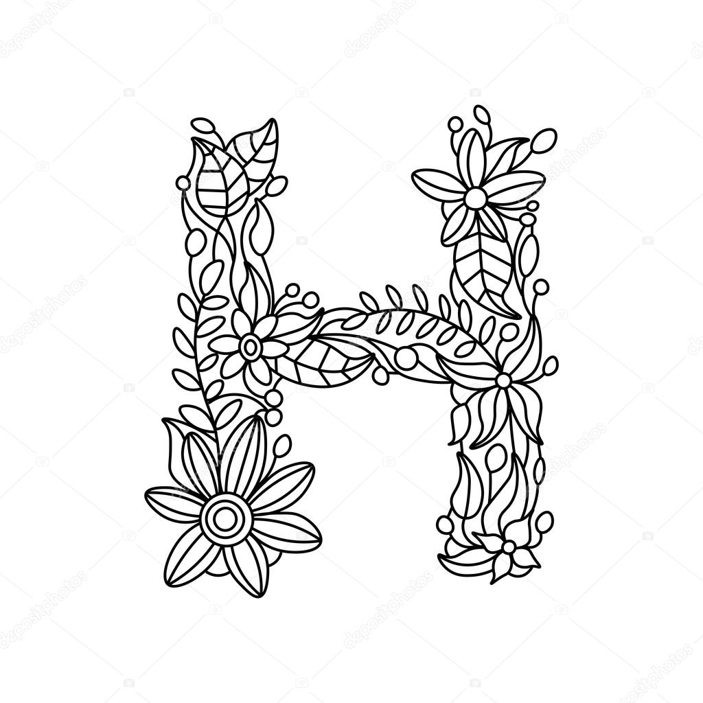 Letter H coloring book for adults vector — Stock Vector ...
