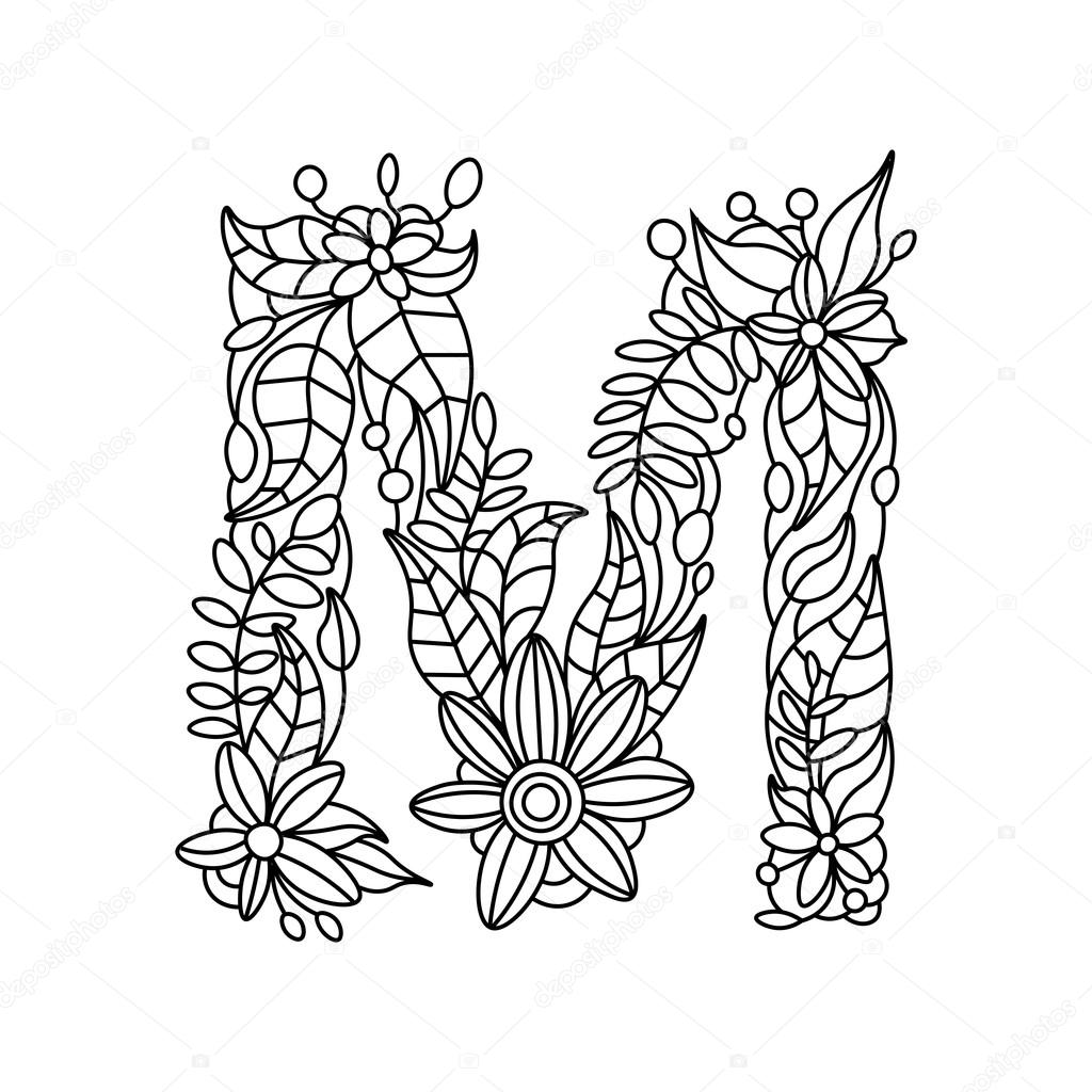Kleurplaten Volwassenen Letters.Letter M Kleurboek Voor Volwassenen Vector Stockvector