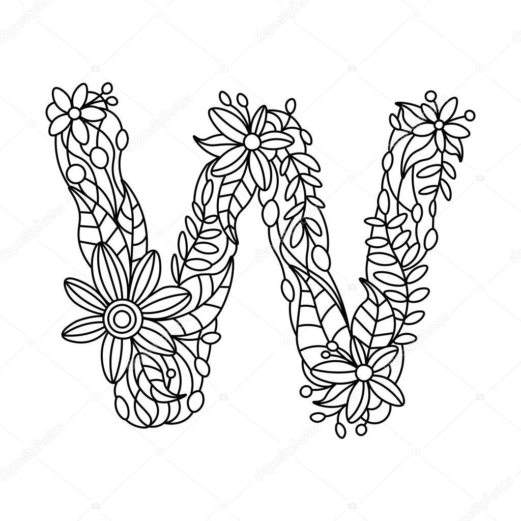 Libro para colorear de letra W para vectores adultos — Vector de ...