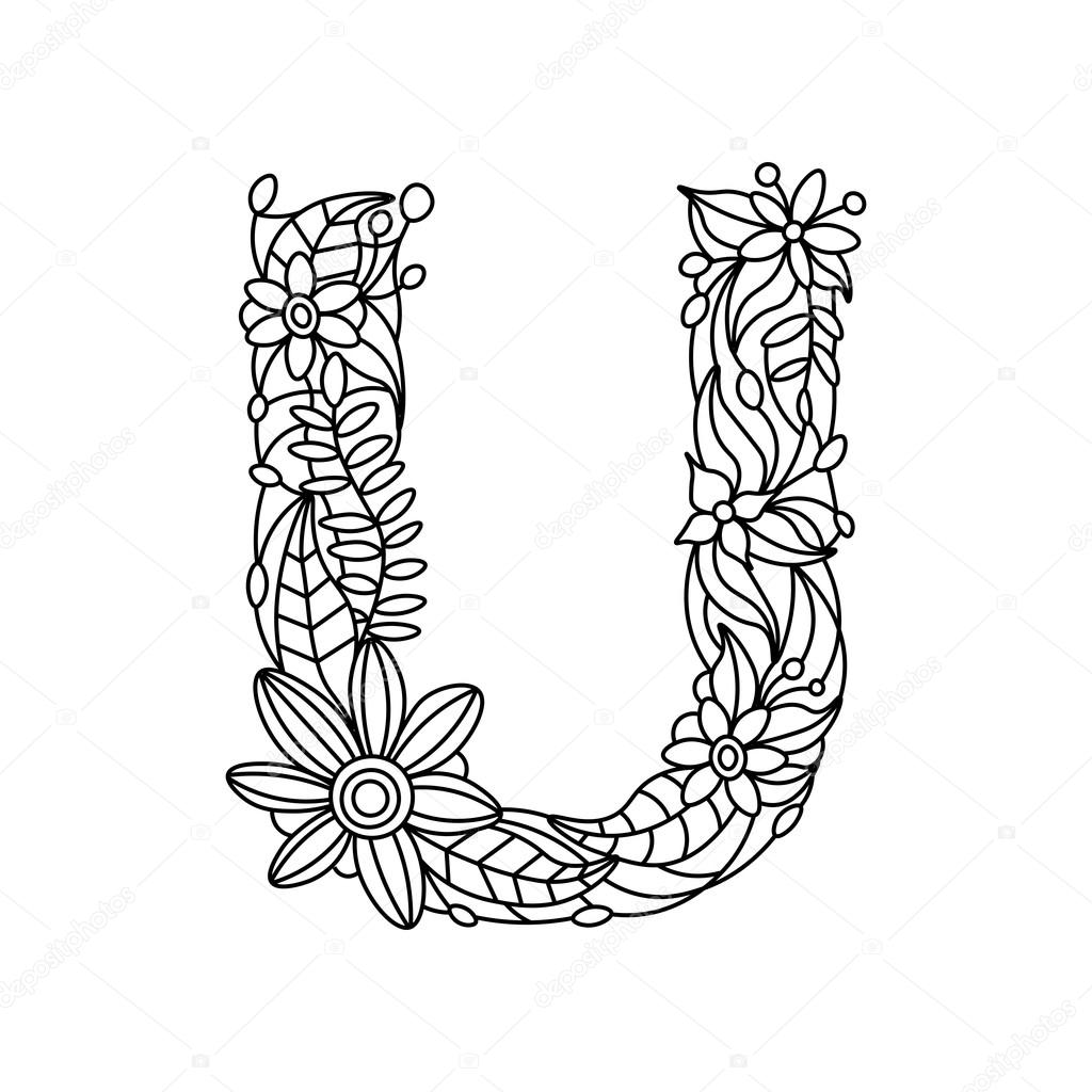 Letter U Coloring Book For Adults Vector Stock Vector
