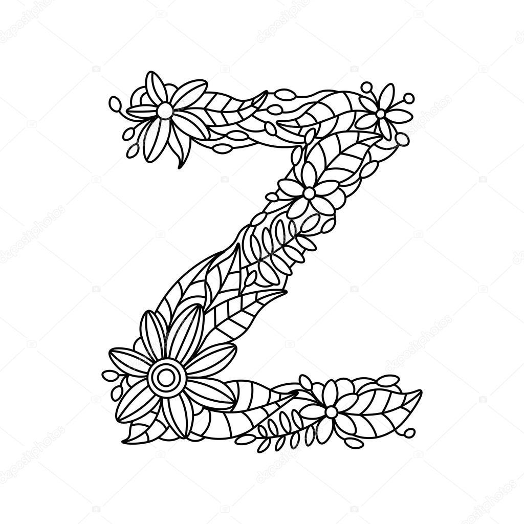 Harf Z Boyama Kitabı Yetişkin Vektör Için Stok Vektör