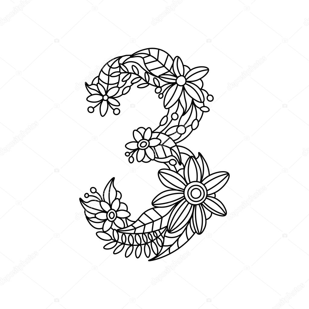 Number 3 Coloring Book For Adults Vector Stock Vector