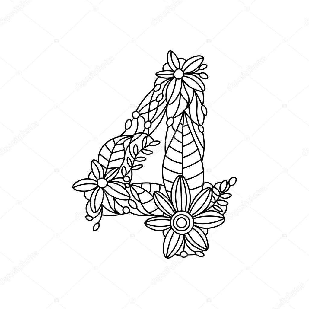 Number 4 coloring book for adults vector — Stock Vector ...