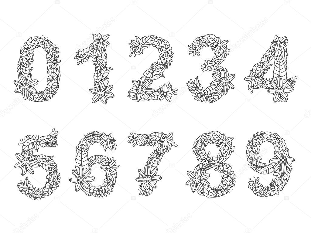 Kleurplaten Voor Volwassenen Met Nummers.Getallen Boek Voor Volwassenen Vector Kleurplaten Stockvector