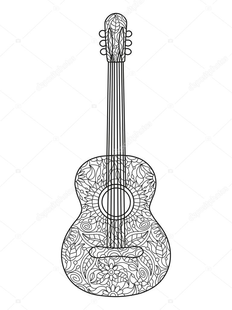 akoestische gitaar coloring boek voor volwassenen vector