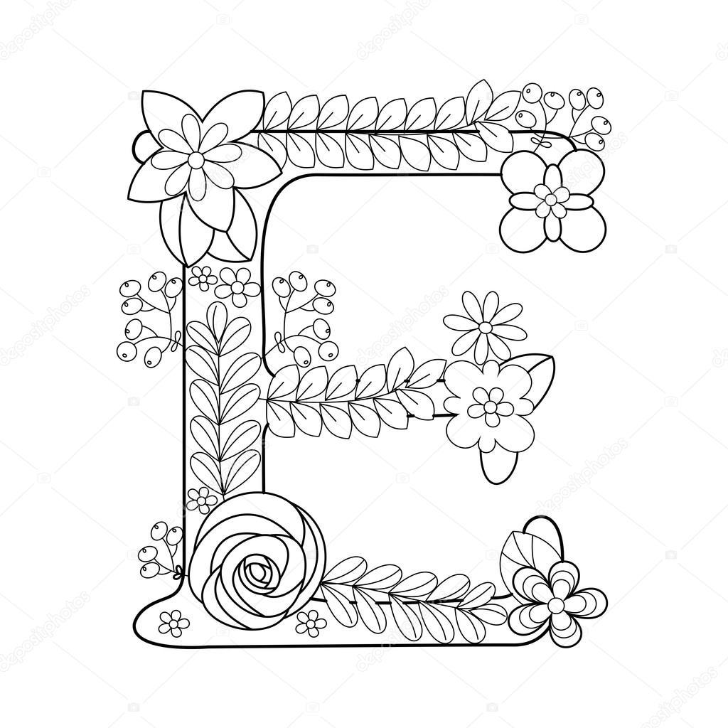 letter e kleurboek voor volwassenen vector stockvector