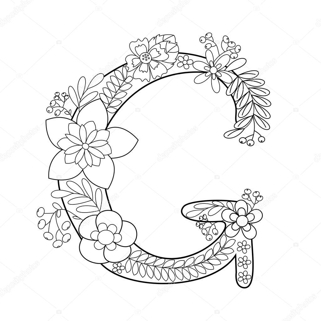 Libro de colorear de la letra G de vectores adultos — Vector de ...