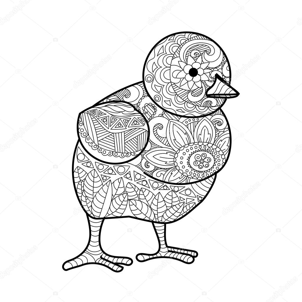 Pollito para colorear libro de vectores adultos — Archivo Imágenes ...