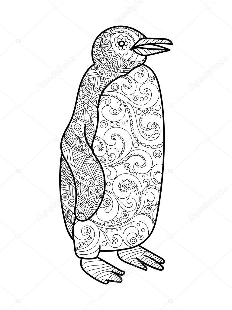 Pingüino para colorear libro de vectores adultos — Vector de stock ...