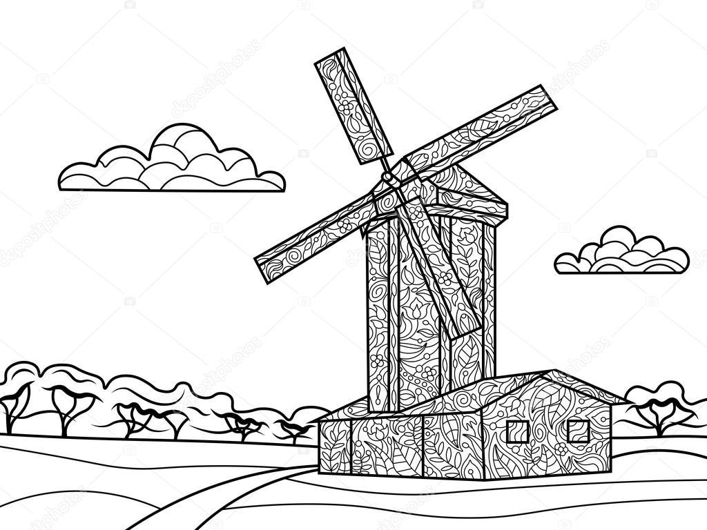 Moulin à Vent Coloriages Pour Vecteur Adultes Image