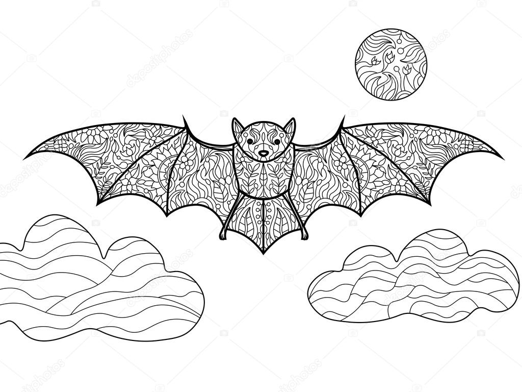 Bat Coloring Book For Adults Vector Stock Vector