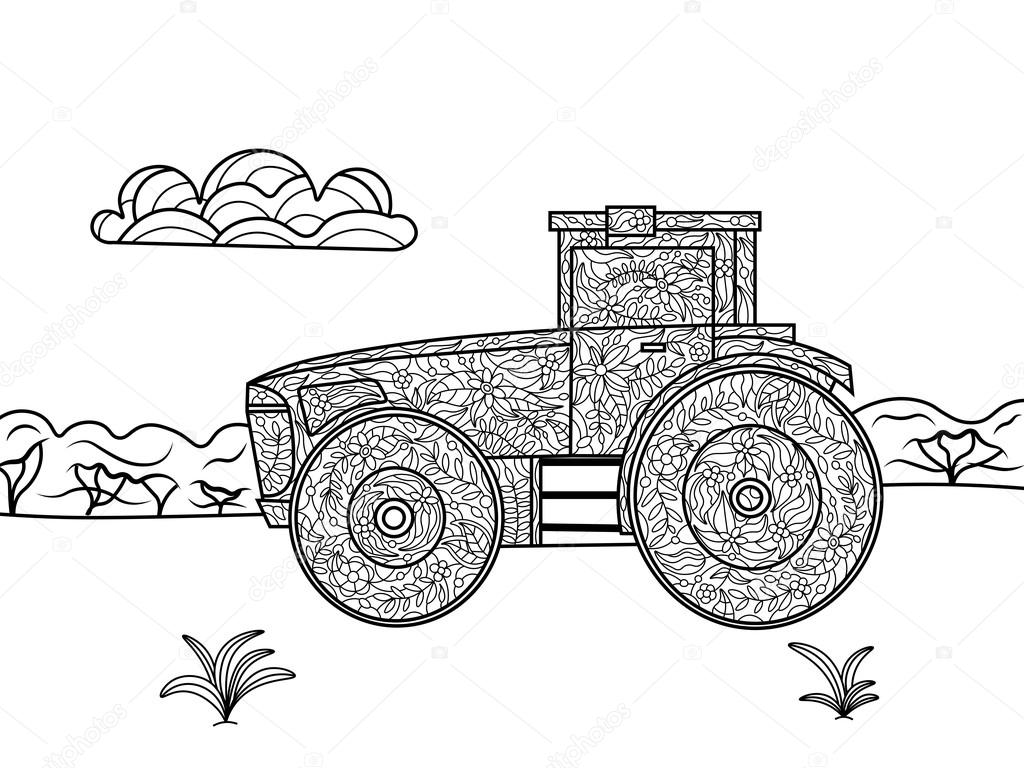 Tractor coloring book for adults vector — Stock Vector ...