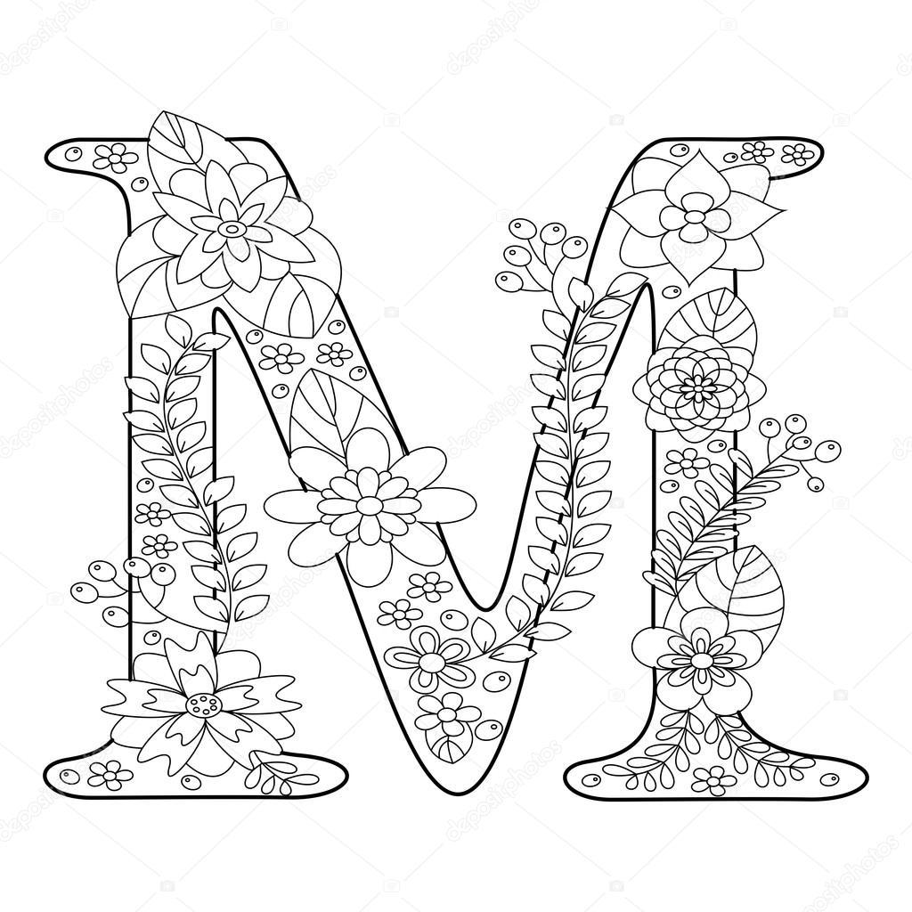 letter m kleurboek voor volwassenen vector stockvector