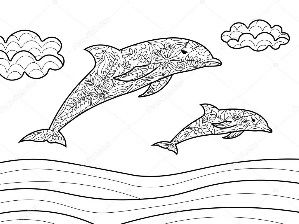 Delfines para colorear libro de vectores adultos — Archivo Imágenes ...