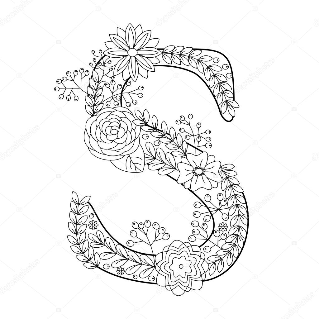 Letter S Coloring Book For Adults Vector Vector Image By C Alexanderpokusay Vector Stock 109961498