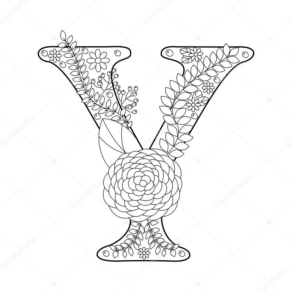 Letter Y Kleurboek Voor Volwassenen Vector Vectorafbeelding Door C Alexanderpokusay Vectorstock 110773464